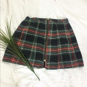 Reversible zip up plaid min skirt